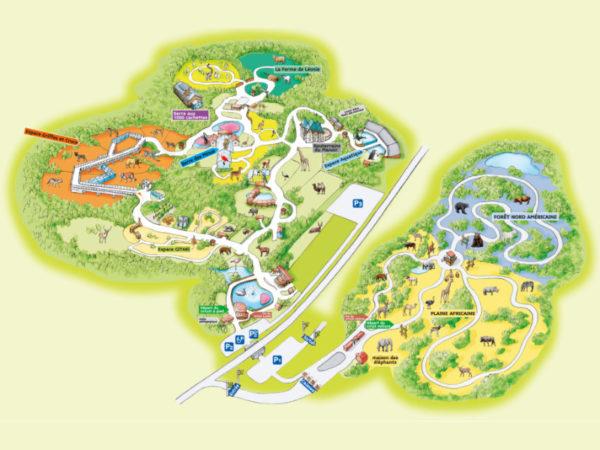 Safari de Peaugres plan du zoo